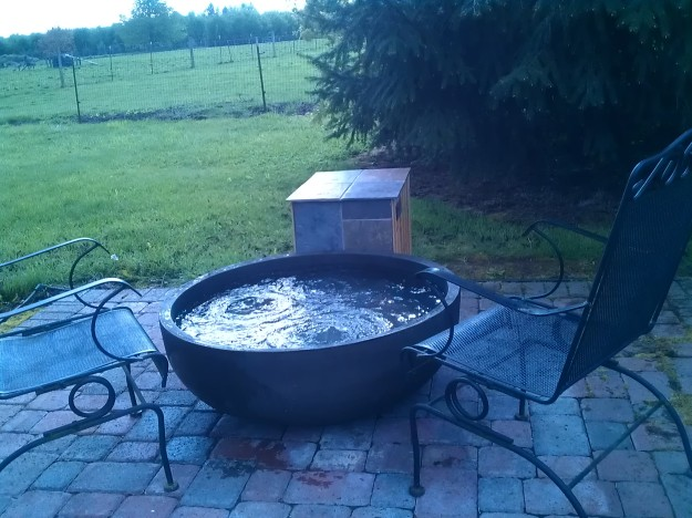 The paved area once had a hot tub  on it, but the owners liked their  new foot spa better.